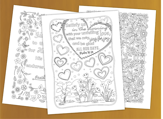 three bible verse coloring pages for adults