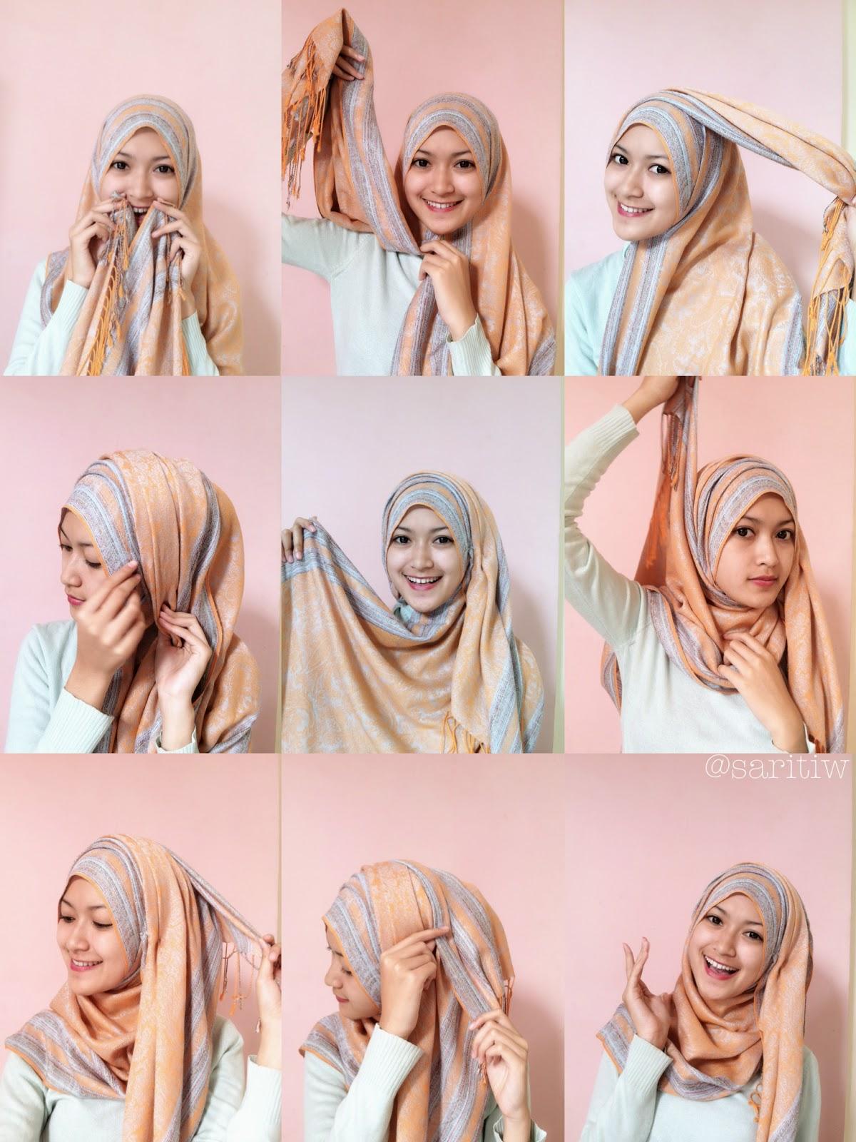 Tutorial Hijab Pashmina Sutra Kumpulan Contoh Kreasi Hijab