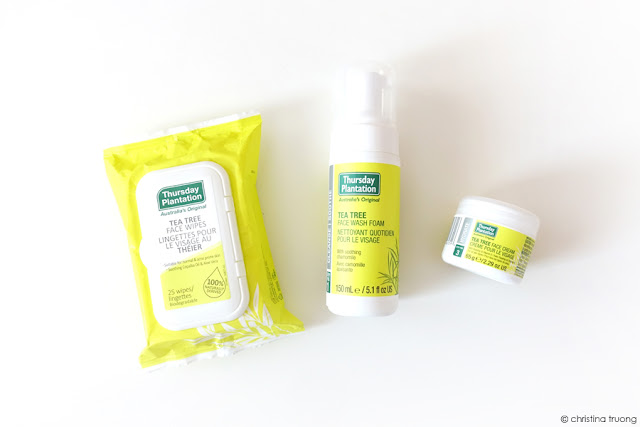 Thursday Plantation Acne Care Review featuring Thursday Plantation Tea Tree Face Wipes, Face Wash, and Face Cream