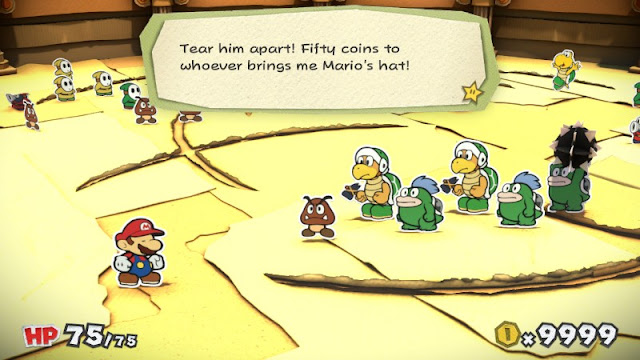 Paper Mario Color Splash Iggy Koopa Golden Coliseum dialogue announcer fifty coins Mario's hat