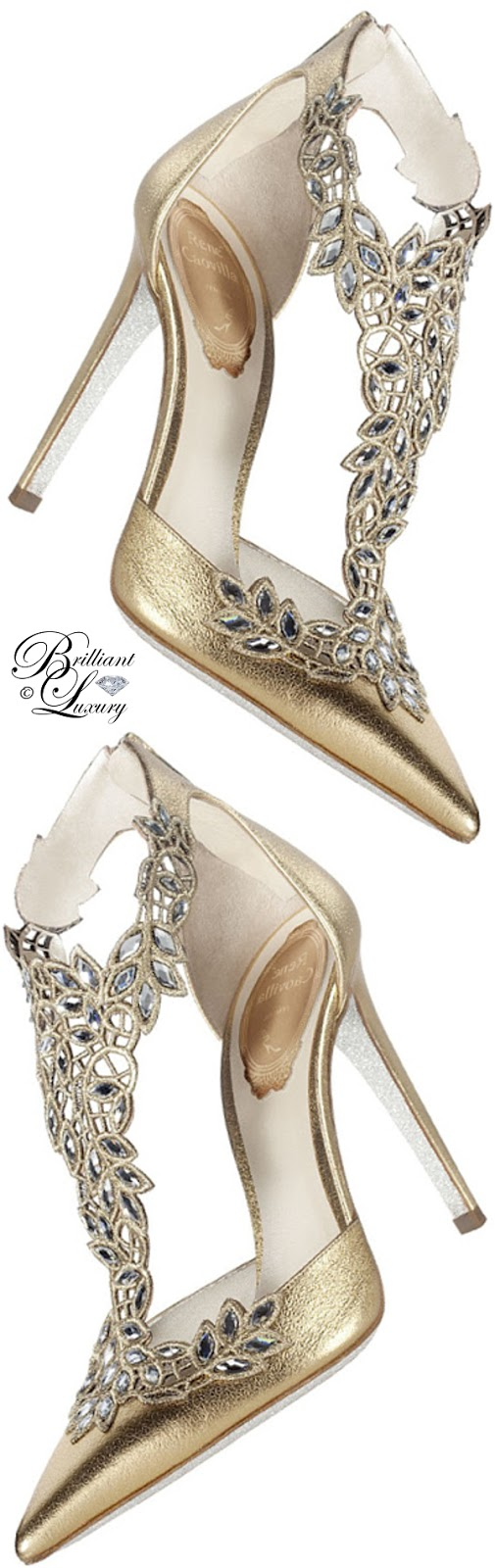 Brilliant Luxury ♦ Rene Caovilla golden high heels
