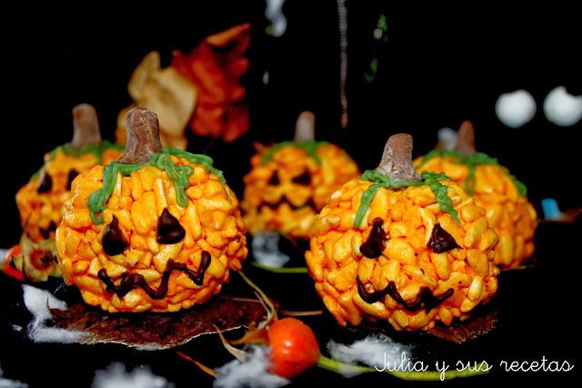 Calabacitas de arroz inflado y nubes para halloween. Julia y sus recetas