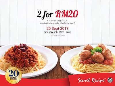 Secret Recipe Spaghetti 2 for RM20 Promo