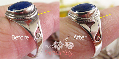 Before and after cleaning the silver ring