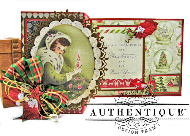 Authentique Vintage Christmas Z Fold Cards 3 Ways Tutorial by Kathy Clement Product by Authentique Photo 3