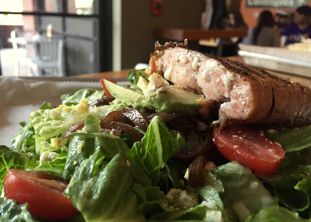 The Catahoula Cobb with Grilled Salmon is a bleu cheese lover's dream.