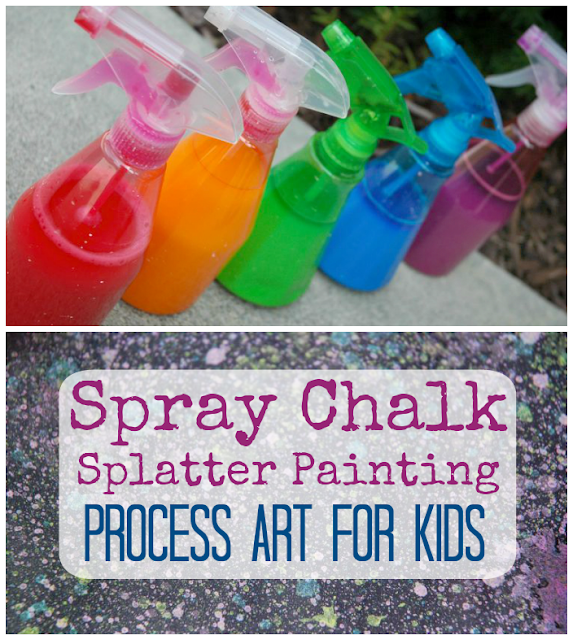 Spray Chalk Splatter Painting Process Art for Kids. Open ended outdoor activity for preschoolers and elementary children. Fun and easy!