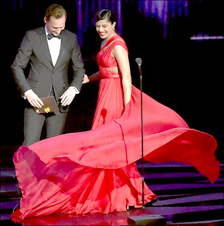 Bollywood actress Priyanka Chopra and Tom Hid-Dleston in Hollywood