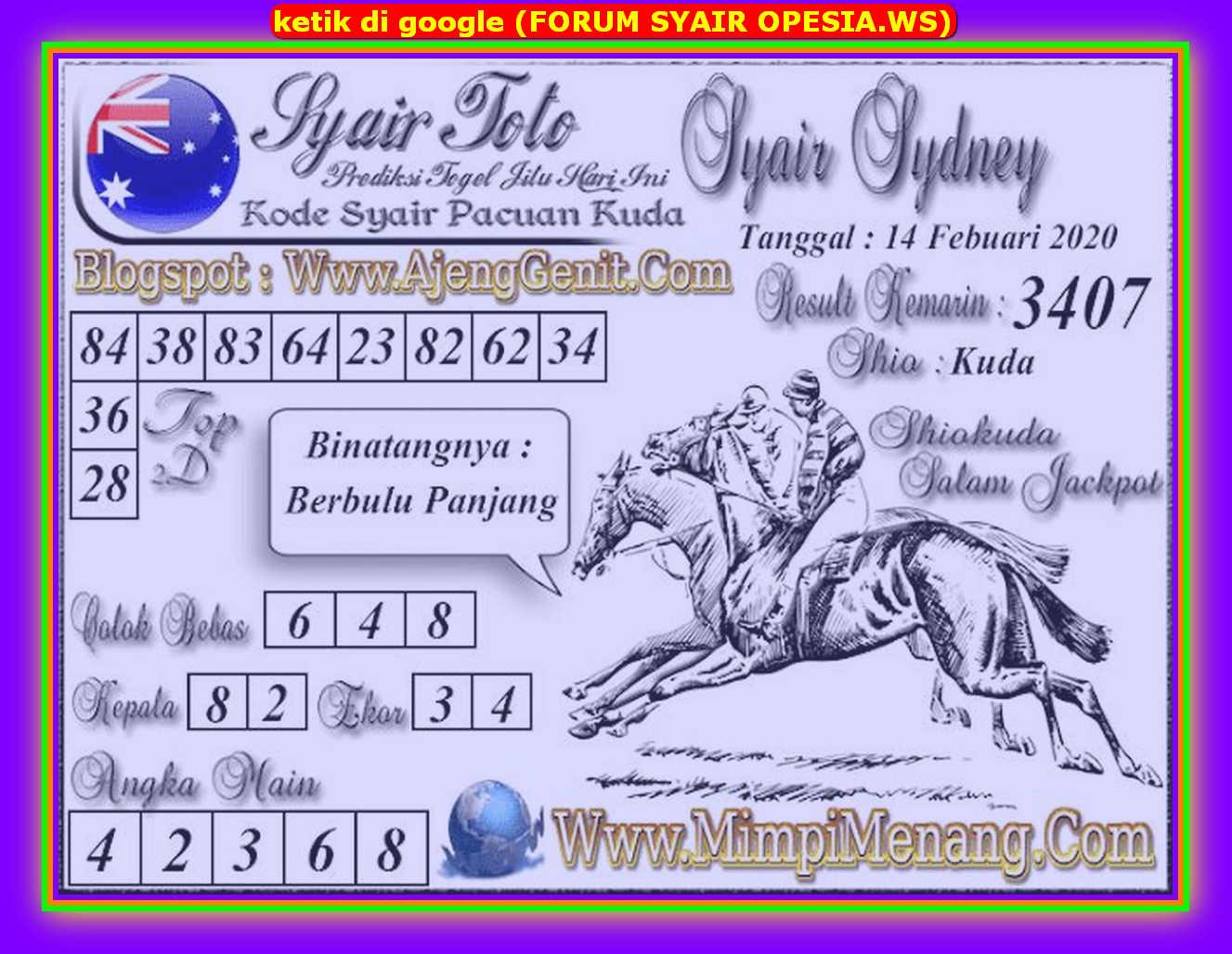 Kode syair Sydney Jumat 14 Februari 2020 125