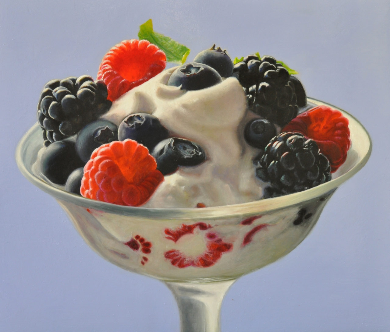 03-Berries-and-Cream-Mary-Ellen-Johnson-A-Sweet-Tooth-s-Dream-in-Food-Art-Paintings-www-designstack-co
