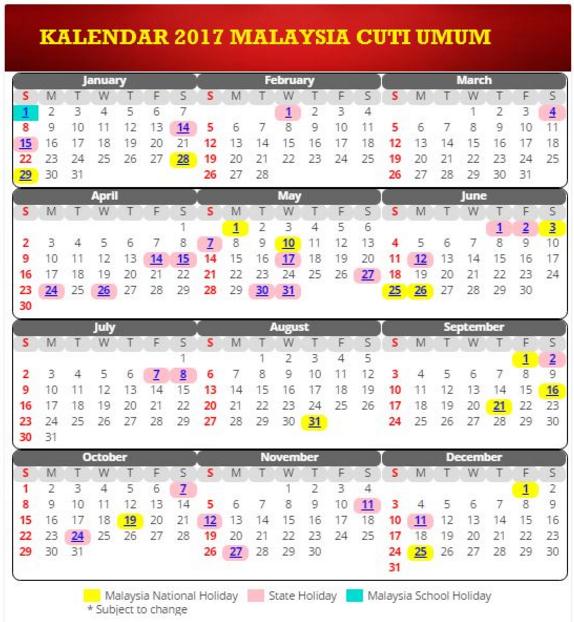 Kalendar tahun 2017