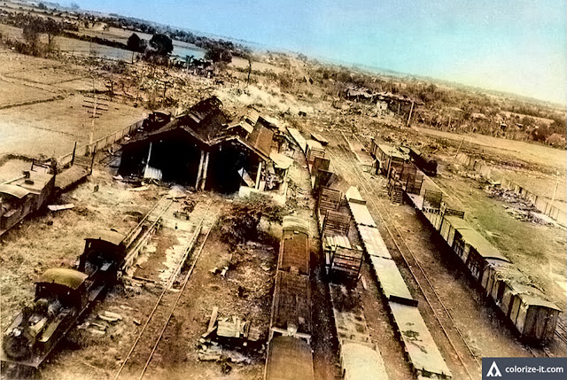 The Lipa railroad junction during a low-level bombing attack in 1945.  Image source:  John Tewell, United States National Archives.