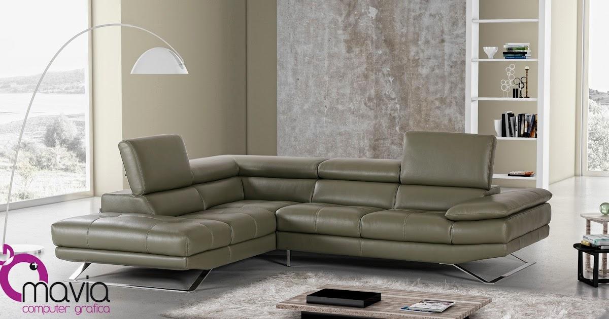 Arredamento di interni: Divano pelle verde - fotografia pubblicitaria e rendering 3d