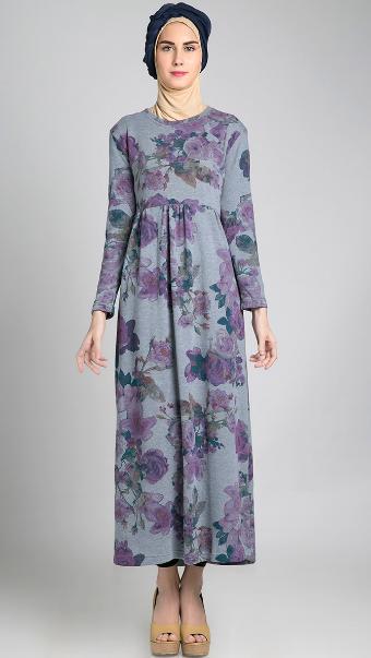 Model Dress Muslim Batik Untuk Ibu Hamil