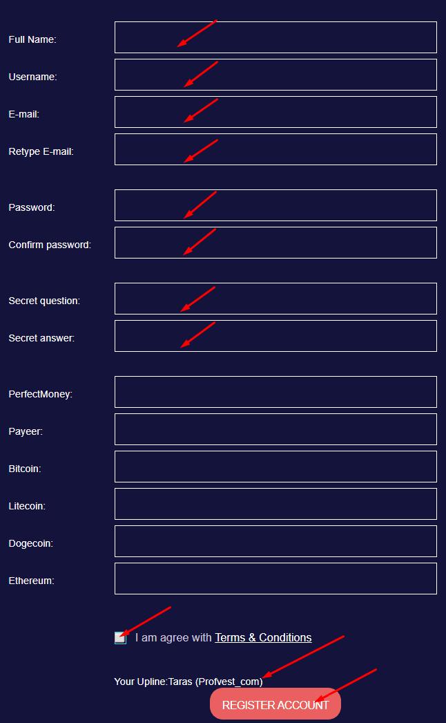 Регистрация в Bitarc 2