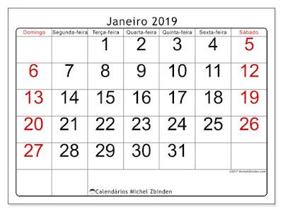 Calendário janeiro/2019