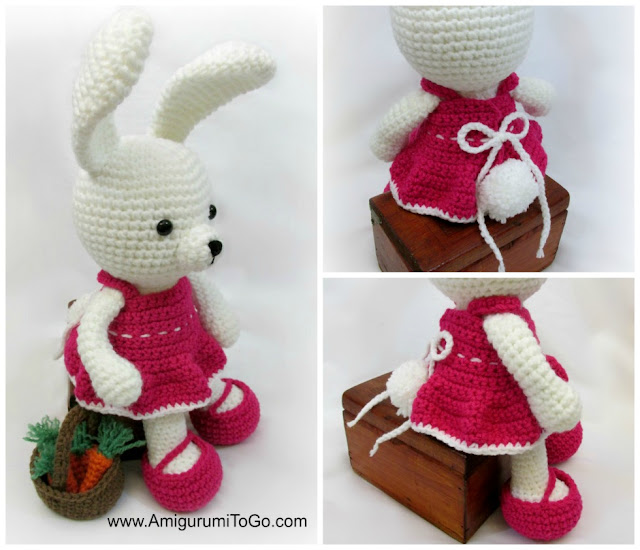 amigurumi bunny wearing pink crochet dress