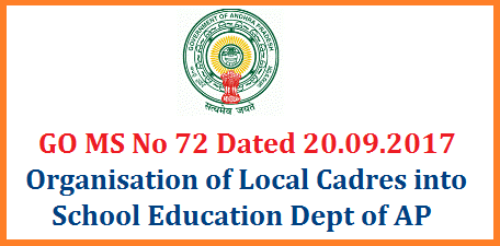 GO MS No 72 Organisation of AP Local Cadres in to the School Education Dept Modified orders issued AP School Education Dept Teachers Service Rules 2017 Modified Orders issued ANDHRA PRADESH PUBLIC EMPLOYMENT (Organisation of Local Cadres & Regulation of Direct Recruitment) Order, 1975 - Organization of Local Cadres in the Department of School Education - Modification Orders - Issued.go-ms-no-72-organisation-of-ap-local-cadres-into-school-education-dept-modified-orders-issued