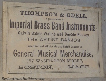 Thompson & Odell Drum Label, ca. 1880s