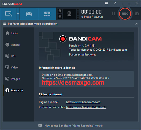 Bandicam 4 captura de registro software