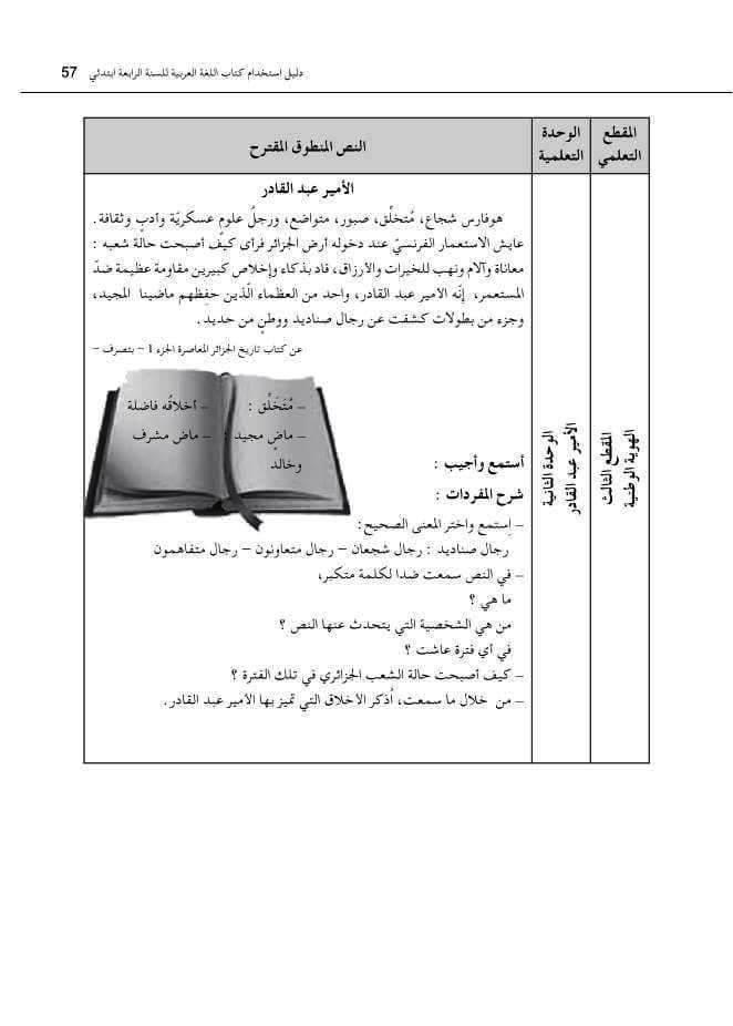 نص الأمير عبد القادر السنة الرابعة ابتدائي الجيل الثاني - فهم المنطوق