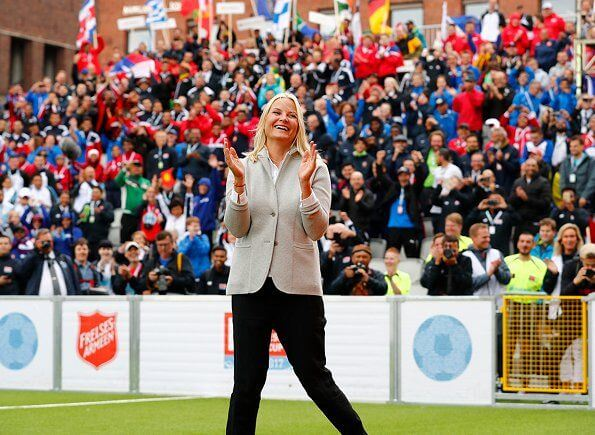 Crown Princess Mette-Marit attended the opening of the Homeless World Cup 2017 at the Oslo City Hall Square
