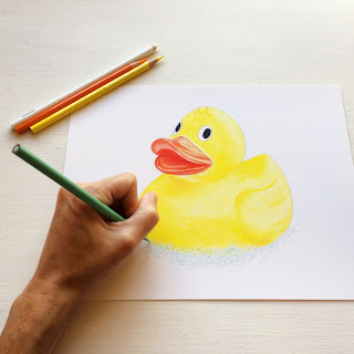Rubber ducky colored pencil drawing by Kim W. Nolan