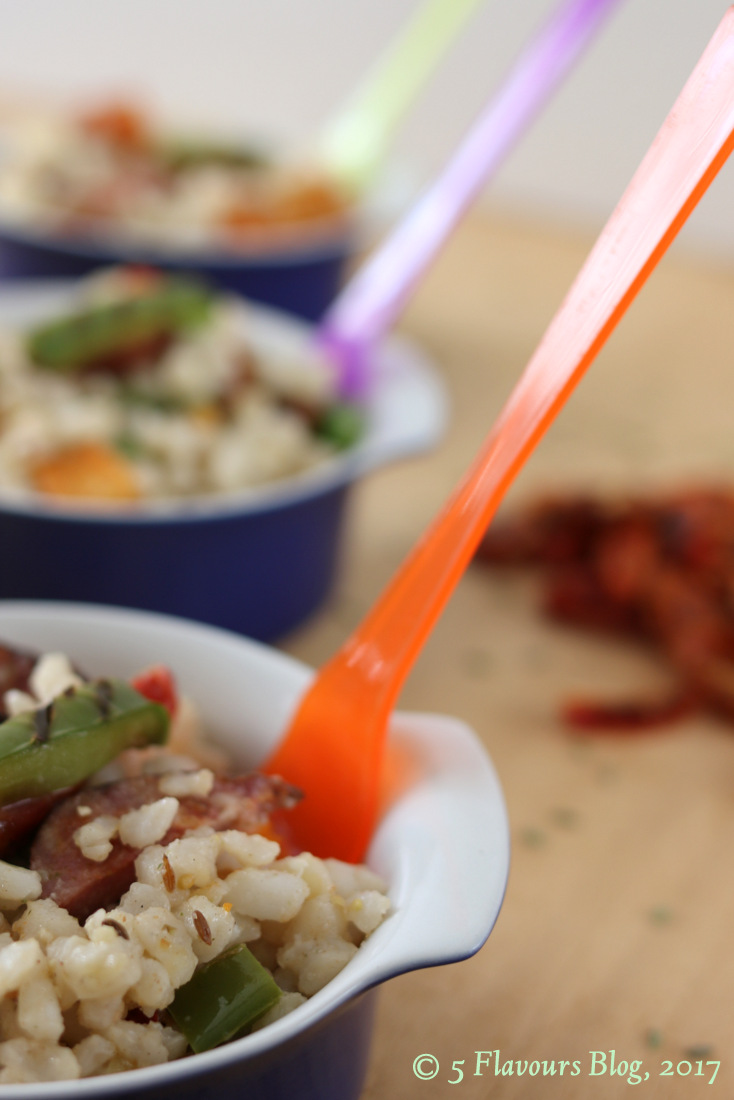 Seared Chorizo, Roasted Butternut, Feta & Samp in Blue Bowls With Colored Forks