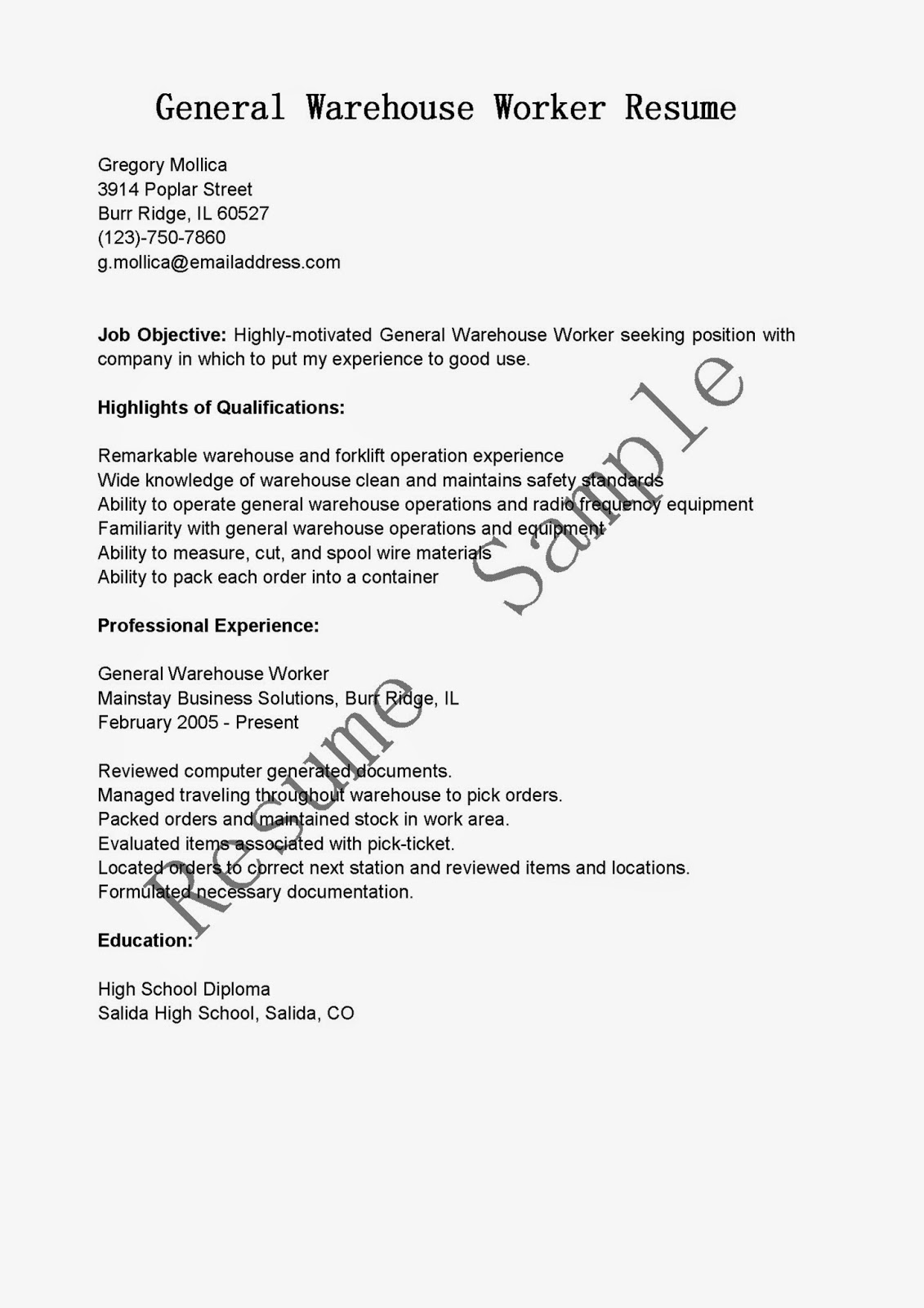 Wastewater sample resume