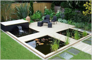 bentuk taman rumah minimalis dengan kolam ikan