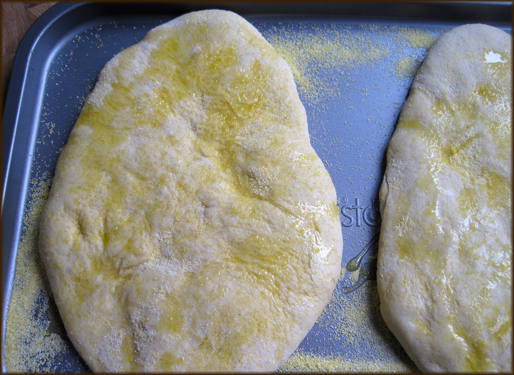Flat bread ready for the oven