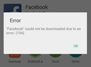 """Facebook"" could not be downloaded due to an error, (194)"