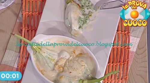 Prova del cuoco - Ingredienti e procedimento della ricetta Fiori di zucca ripieni di ricotta spinaci e besciamella di Cesare Marretti