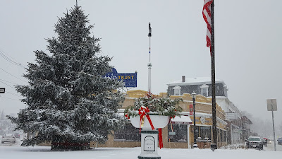 downtown Franklin in snow