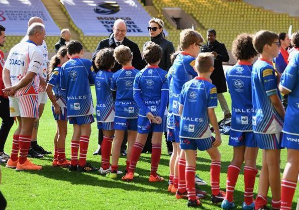 Prince Albert Princess Charlene, Crown Princes Jacques and Princess Gabriella attended the 8th Sainte Devote International Rugby tournament