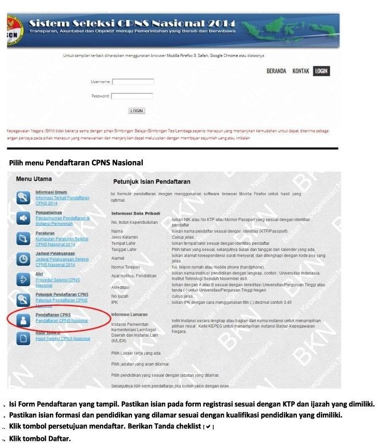 Langkah Langkah Pendaftaran Online Cpns 2014 Cpns Bersih
