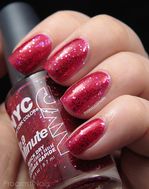 Swatch of the red New York Color Ruby Slippers glitter jelly polish
