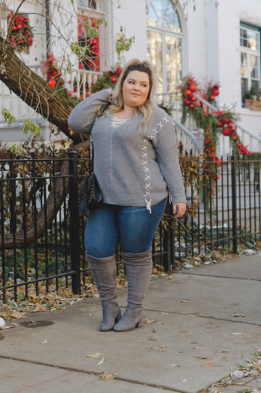 natalie in the city, Chicago model, Chicago fashion blogger, plus size fashion blogger, plus size style, plus model magazine, eff your beauty standards, embrace my curves, Charlotte Russe plus, tummy control jeans, affordable plus size fashion for women, wide calf knee high boots, faux suede wide calf boots, wide calf sock boots