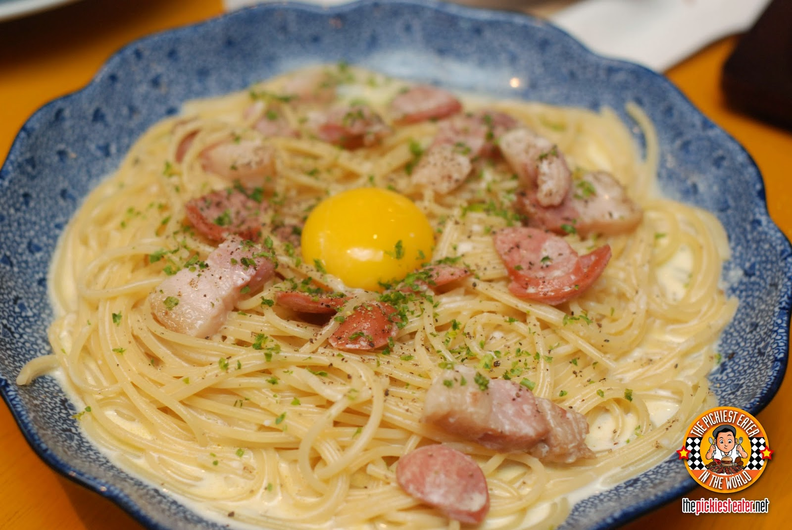 carbonara with yolk and bacon