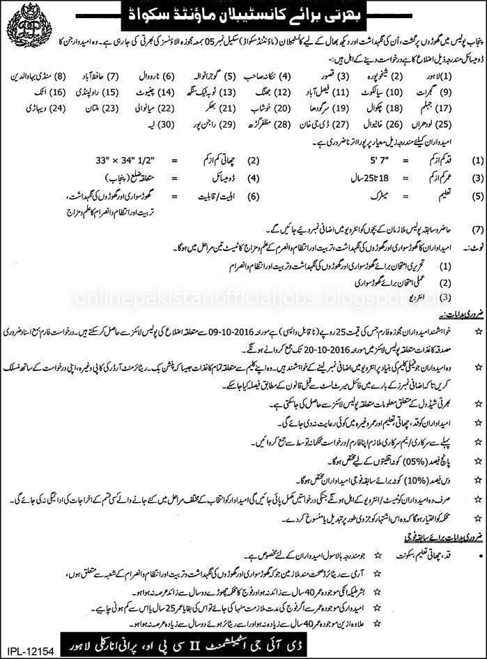 Constable Mounted Squad jobs in Punjab Police