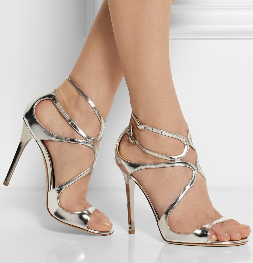 Fashionable Fashional Stiletto Criss-Cross Straps White Beautiful Sandals Gloucester