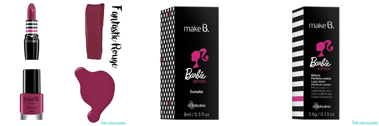 batom vinho e esmalte vinho embalagens da coleção da barbie por MakeB