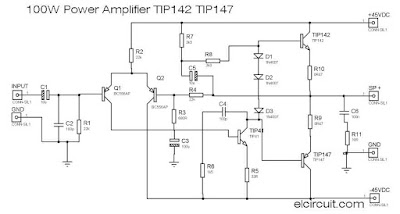 100W Power Amplifier TIP142/TIP147