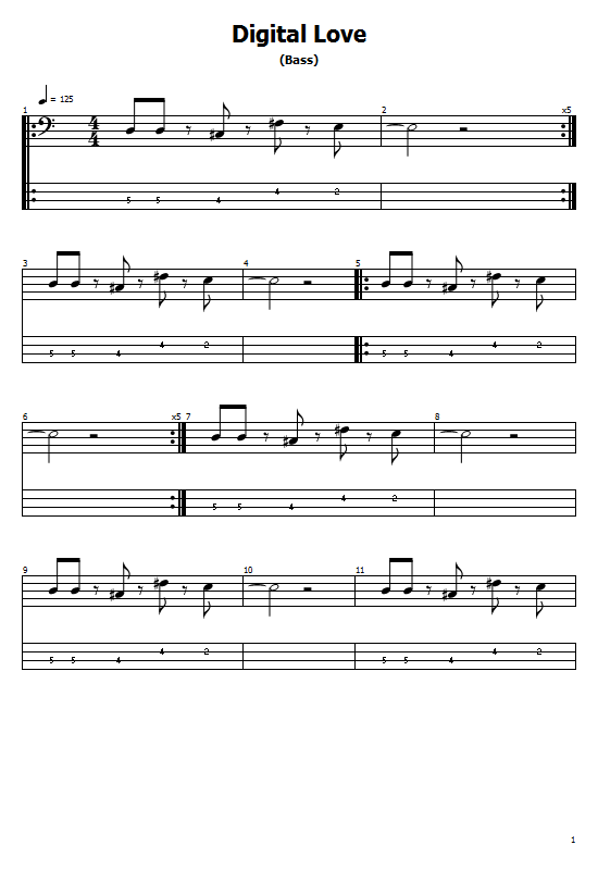Digital Love Tabs Daft Punk - How To Play Digital Love On Guitar Tabs & Sheet Online