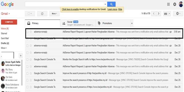 cara agar laporan penghasilan adsense dikirim lewat email