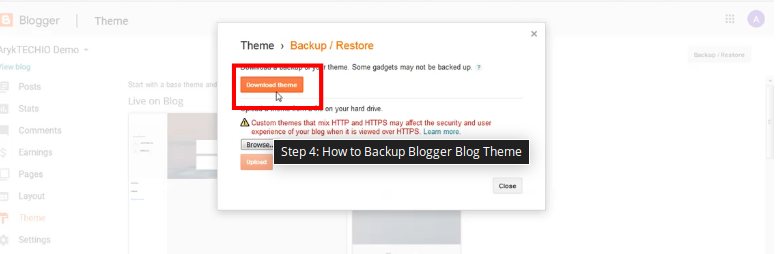 Step 4: How to Backup Blogger Blog Theme