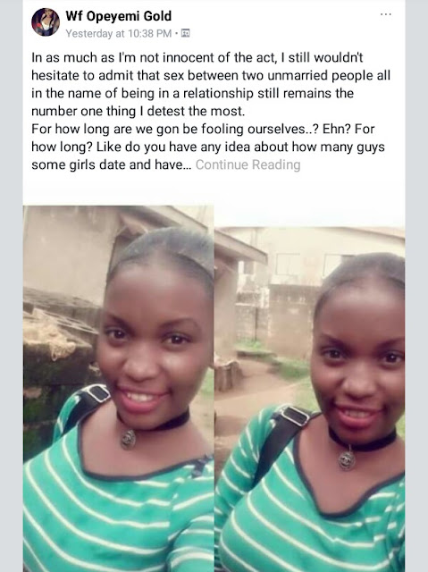 """Girlfriend o, runs girl o, Olosho o, all of you are fornicators and in the same category!"" -Young Nigerian lady goes on FB rant about premarital sex"