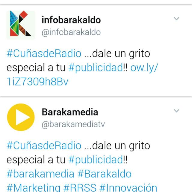 Pantallazo del tuit institucional con el mismo contenido de la cuenta de la empresa