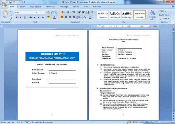 Contoh RPP SD Kelas 3 Semester 2 Kurikulum 2013 Revisi 2018