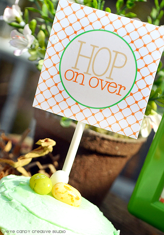 hop on over cupcake topper, easter toppers, easter party decor